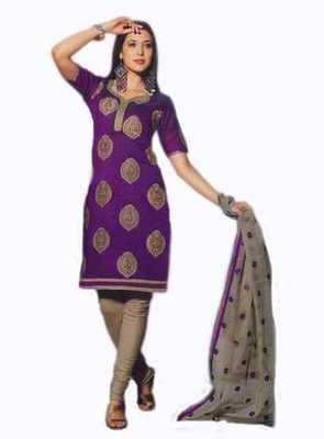 Salwar Studio Voilet & Grey Chanderi unstitched churidar kameez with dupatta Nirvana-29007