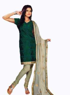 Salwar Studio Green & Fawn Chanderi unstitched churidar kameez with dupatta Nirvana-29009