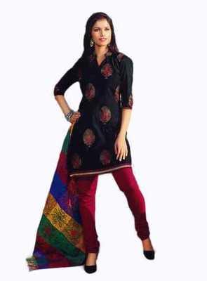 Salwar Studio Black & Maroon Chanderi unstitched churidar kameez with dupatta Nirvana-29012