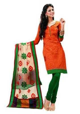 Salwar Studio Orange & Green Cotton unstitched churidar kameez with dupatta Riwaaz-27002