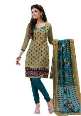 Salwar Studio Grey & Blue Cotton unstitched churidar kameez with dupatta Riwaaz-27003