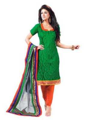 Salwar Studio Green & Orange Cotton unstitched churidar kameez with dupatta Riwaaz-27006