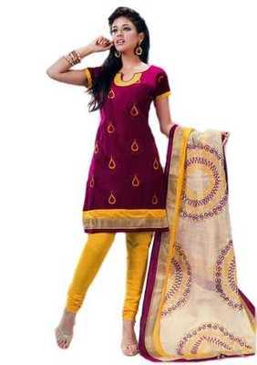 Salwar Studio Magenta & Yellow Cotton unstitched churidar kameez with dupatta Riwaaz-27009