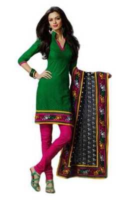 Salwar Studio Green & Pink Cotton unstitched churidar kameez with dupatta Rukhsana-23001