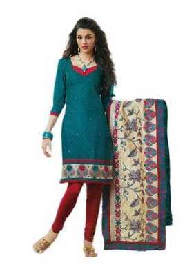 Salwar Studio Blue & Red Cotton unstitched churidar kameez with dupatta Rukhsana-23003