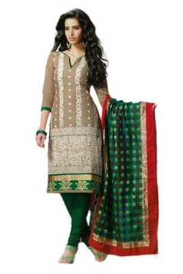Salwar Studio Fawn & Green Cotton unstitched churidar kameez with dupatta Rukhsana-23004