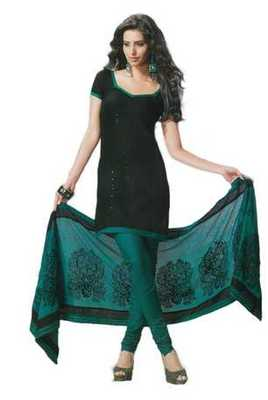 Salwar Studio Black & Green Cotton unstitched churidar kameez with dupatta Rukhsana-23006