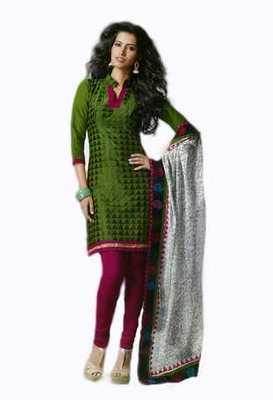Salwar Studio Green & Pink Cotton unstitched churidar kameez with dupatta Rukhsana-23011