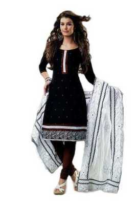 Salwar Studio Black & Brown Cotton unstitched churidar kameez with dupatta Rukhsana-23012