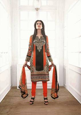 Divine Satin Cotton Orange & Black Salwar Kameez