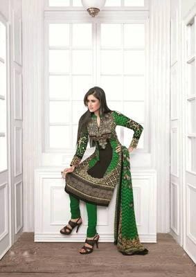 Tantalizing Satin Cotton Green & Black Salwar Kameez