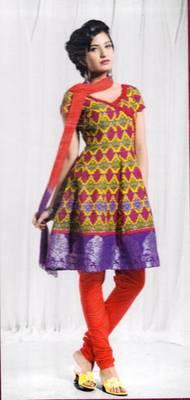 Elegant designer cotton unstitched salwar suit with chiffon dupatta d.no. K1555