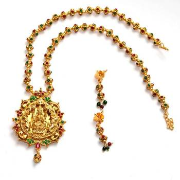 Anvi's lakshmi pendent (temple jewellery) with multi colored gundla mala with earrings