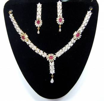 Ruby Baguette American diamond  floral design necklace earring set Adw10. A Muhenera collection
