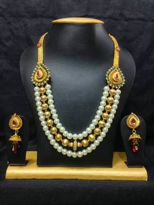 Rare Haram Jewelry Set in High Gold Polish with Pearls and Red with Green Stones