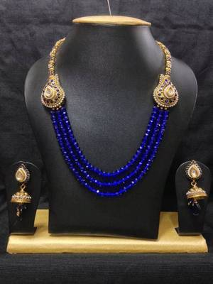 Fusion Haram Jewelry Set in High Gold Polish and Blue Crystal Beads
