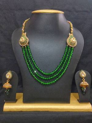 Fusion Haram Jewelry Set in High Gold Polish and Green Crystal Beads