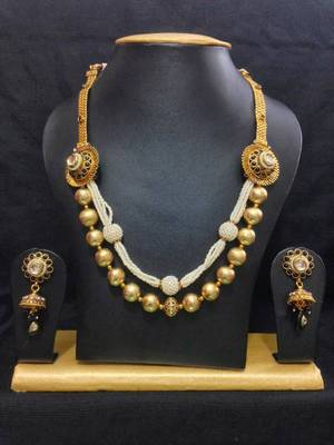 Pearl Studded Haram Jewelry Set in High Gold Polish with Black Stones