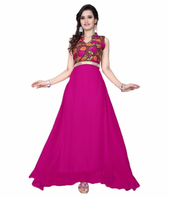 pink georgette printed stitiched party wear gowns