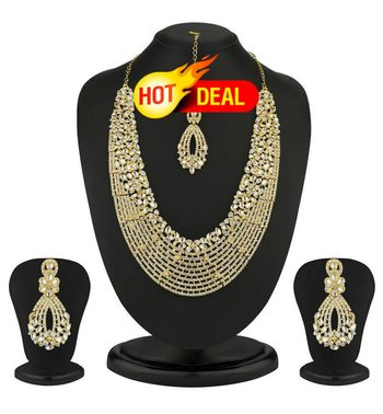 Dazzling Gold Plated Australian Diamond Necklace Set