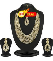 Buy Dazzling Gold Plated Australian Diamond Necklace Set hot-deal online