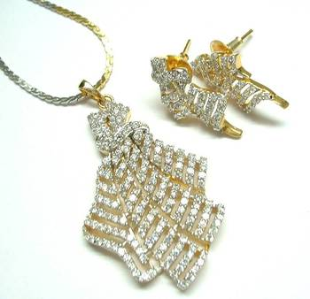 American diamond pendant earring set avp3 A muhenera collection.