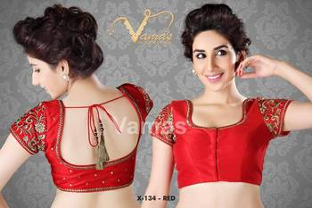Embroidered Silk Saree Blouse. X134 Red