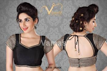 Open Back with Wide neck Saree Blouse. X135 Black