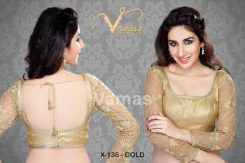 Full Sleeve Embroidered Saree Designer Blouse Blouse. X136 Gold