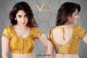 Pleated Set Saree Blouse. X142 Yellow