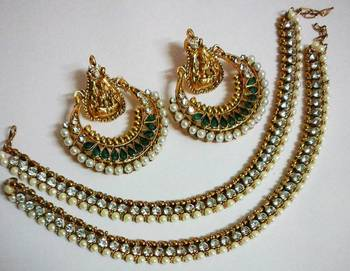 Designer Green coloue  Ram Leela Earings with Traditional Anklets