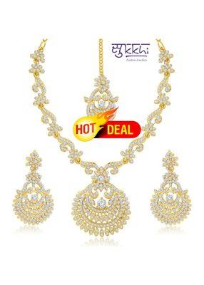 Sukkhi Incredible Gold Plated Australian Diamond Stone Studded Necklace Set(2040NADK1500)