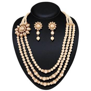 Delightly Gold Plated Australian Diamond Stone  Necklace Set
