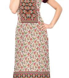 multicolor Color Cap sleeve and Boat Neck Faux Crepe Kurti