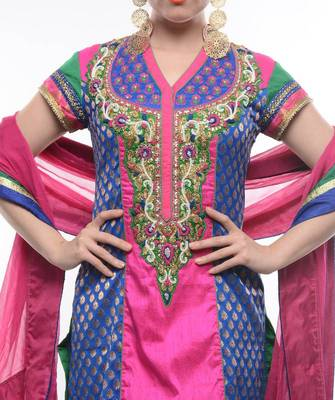 GREEN AND PINK STRAIGHT SUIT- by Abhilasha & Abhishek