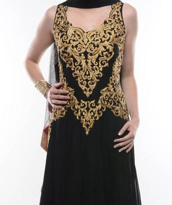 BLACK ANARKALI SUIT WITH INTRICATE GOLDEN EMBROIDERY- by Abhilasha & Abhishek