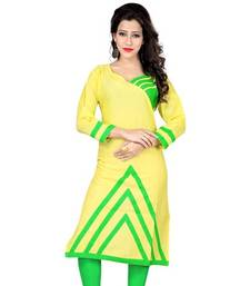 Buy Lime green plain cotton stitched kurti cotton-kurti online