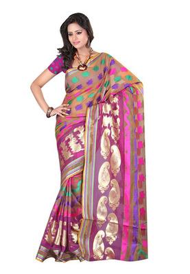 Fabdeal Light Brown Colored Banarasi Cotton Printed Saree