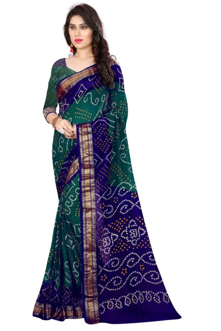 Buy Bandhani Saree Green Hand Woven Bandhani Saree With