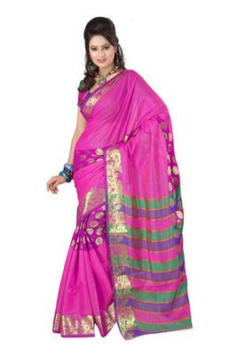 Fabdeal Pink Colored Banarasi Cotton Printed Saree
