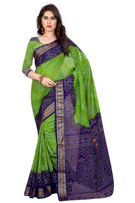 Green hand woven Bandhani saree With Blouse