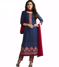 Buy Bllue cotton embroidered semi stitched salwar with dupatta cotton-salwar-kameez online