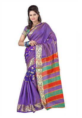Fabdeal Purple Colored Banarasi Cotton Printed Saree