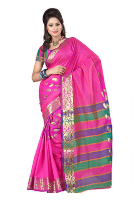 Fabdeal Pink Colored Banarasi Cotton Printed Saree