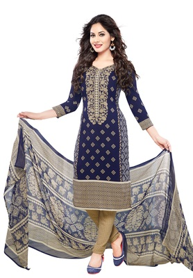 Blue and beige printed synthetic unstitched kameez with dupatta