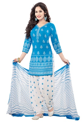 Blue And White Printed Synthetic Unstitched Salwar With Dupatta