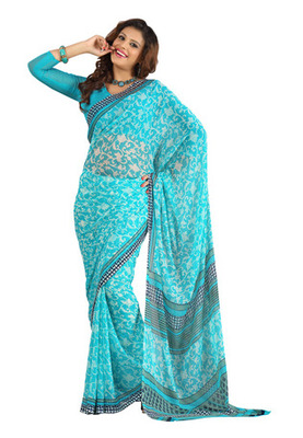 Fabdeal Blue Colored Colombus Chiffon Printed Saree