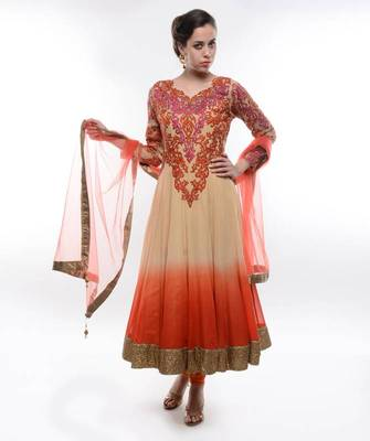 ORANGE-BEIGE OMBREY ANARKALI SUIT WITH INTRICATE RESHAM THREAD EMBROIDERY- by Abhilasha & Abhishek