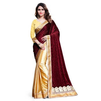 a8ba7a1829 maroon embroidered velvet saree With Blouse - KAVVYA FASHION - 1411458