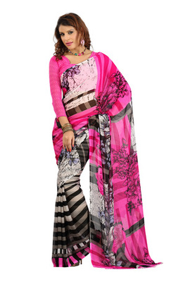 Fabdeal Pink Colored Colombus Chiffon Printed Saree